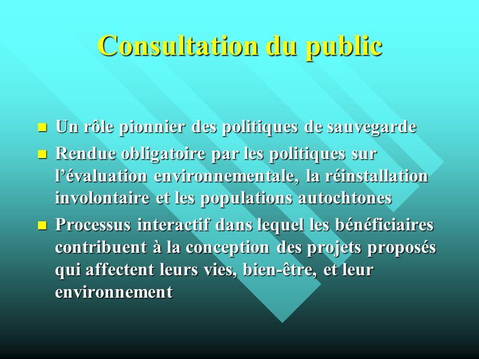 Consultation du public Un rôle pionnier des politiques de sauvegarde Un rôle pionnier des politiques de sauvegarde Rendue obligatoire par les politiqu
