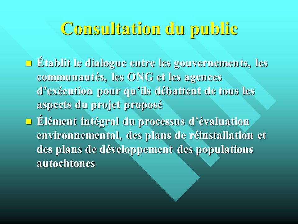Consultation du public Établit le dialogue entre les gouvernements, les communautés, les ONG et les agences dexécution pour quils débattent de tous le