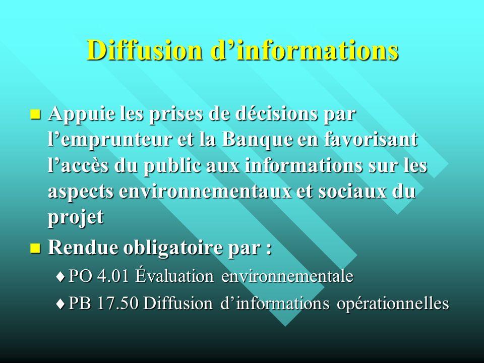 Diffusion dinformations Appuie les prises de décisions par lemprunteur et la Banque en favorisant laccès du public aux informations sur les aspects en