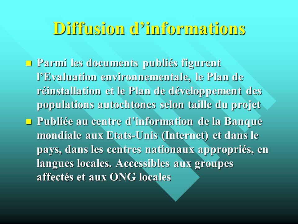 Diffusion dinformations Parmi les documents publiés figurent lEvaluation environnementale, le Plan de réinstallation et le Plan de développement des p