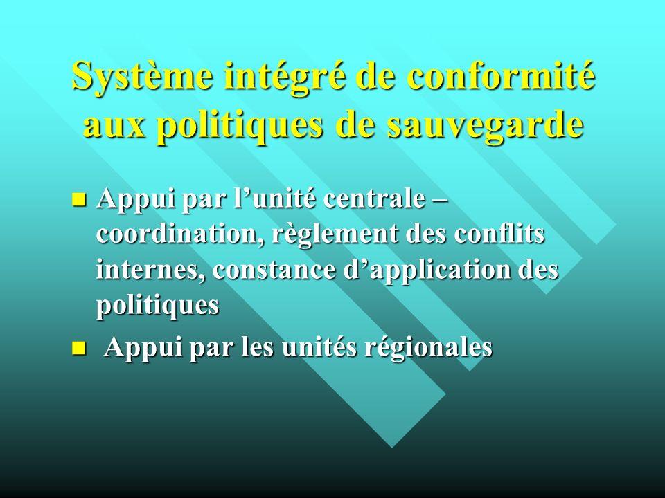 Système intégré de conformité aux politiques de sauvegarde Appui par lunité centrale – coordination, règlement des conflits internes, constance dappli