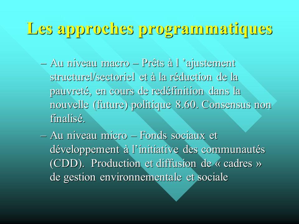Les approches programmatiques –Au niveau macro – Prêts à l ajustement structurel/sectoriel et à la réduction de la pauvreté, en cours de redéfinition