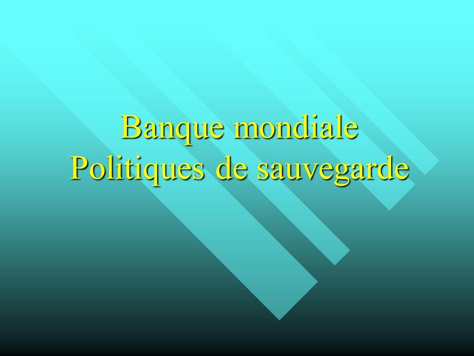 Banque mondiale Politiques de sauvegarde Banque mondiale Politiques de sauvegarde