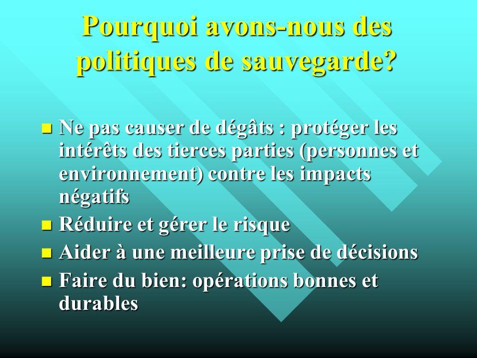 Pourquoi avons-nous des politiques de sauvegarde? Ne pas causer de dégâts : protéger les intérêts des tierces parties (personnes et environnement) con