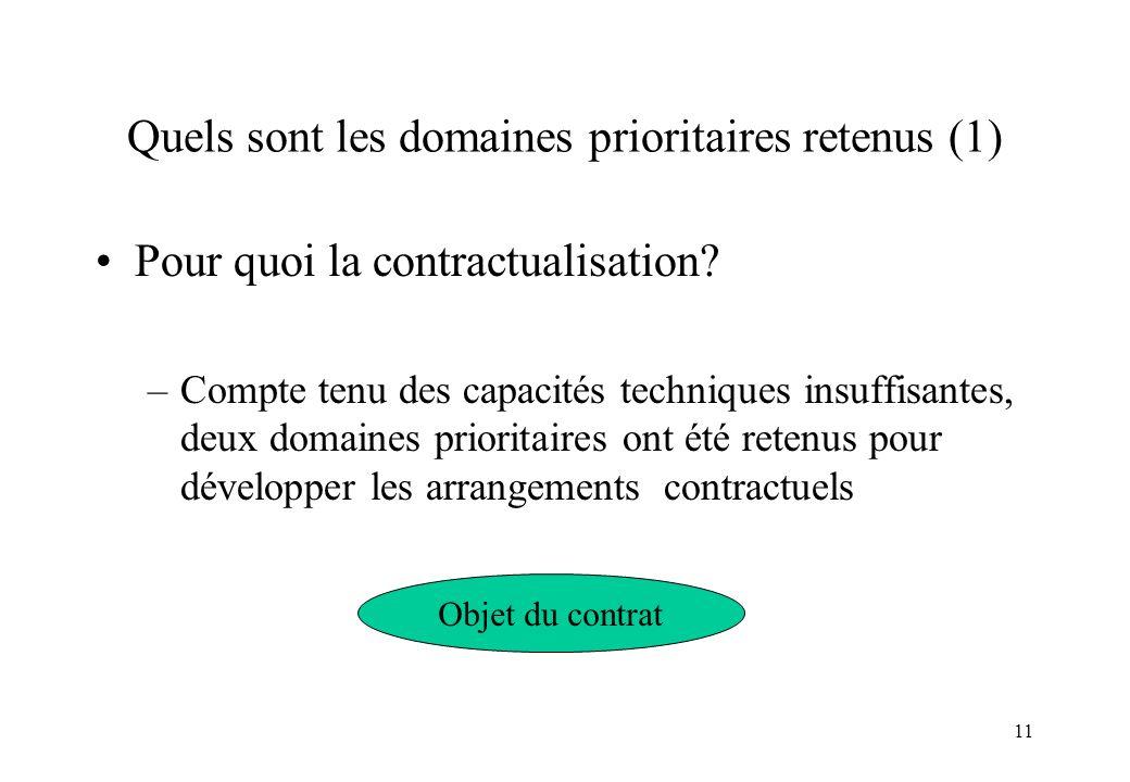 11 Quels sont les domaines prioritaires retenus (1) Pour quoi la contractualisation? –Compte tenu des capacités techniques insuffisantes, deux domaine