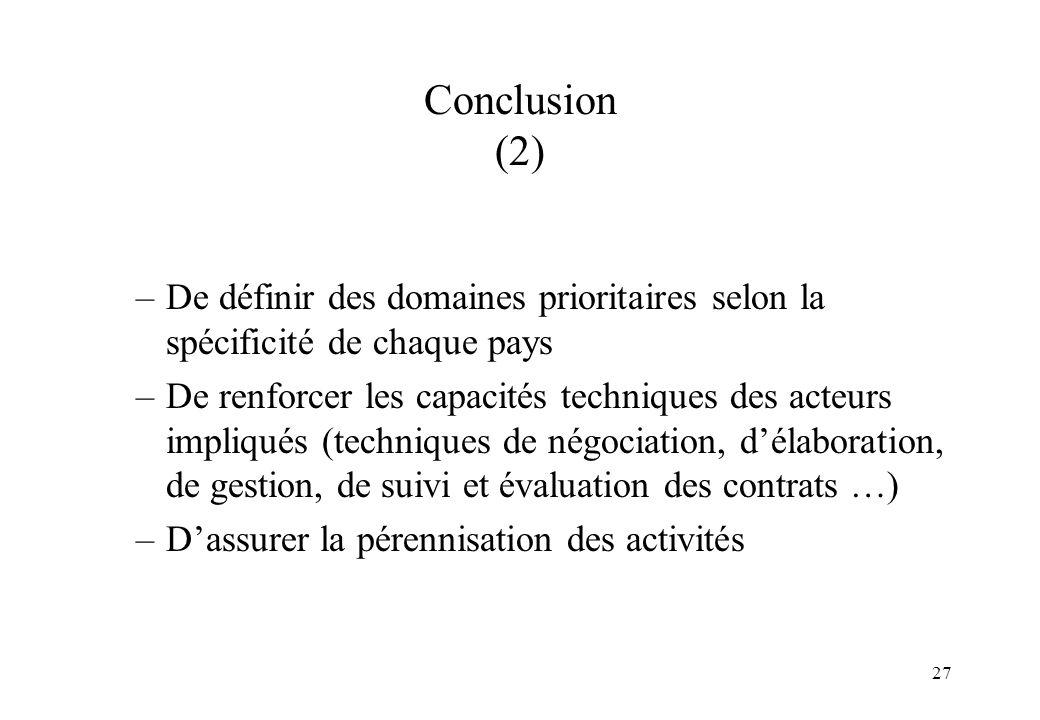 27 Conclusion (2) –De définir des domaines prioritaires selon la spécificité de chaque pays –De renforcer les capacités techniques des acteurs impliqu