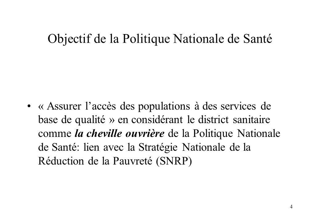 4 Objectif de la Politique Nationale de Santé « Assurer laccès des populations à des services de base de qualité » en considérant le district sanitair