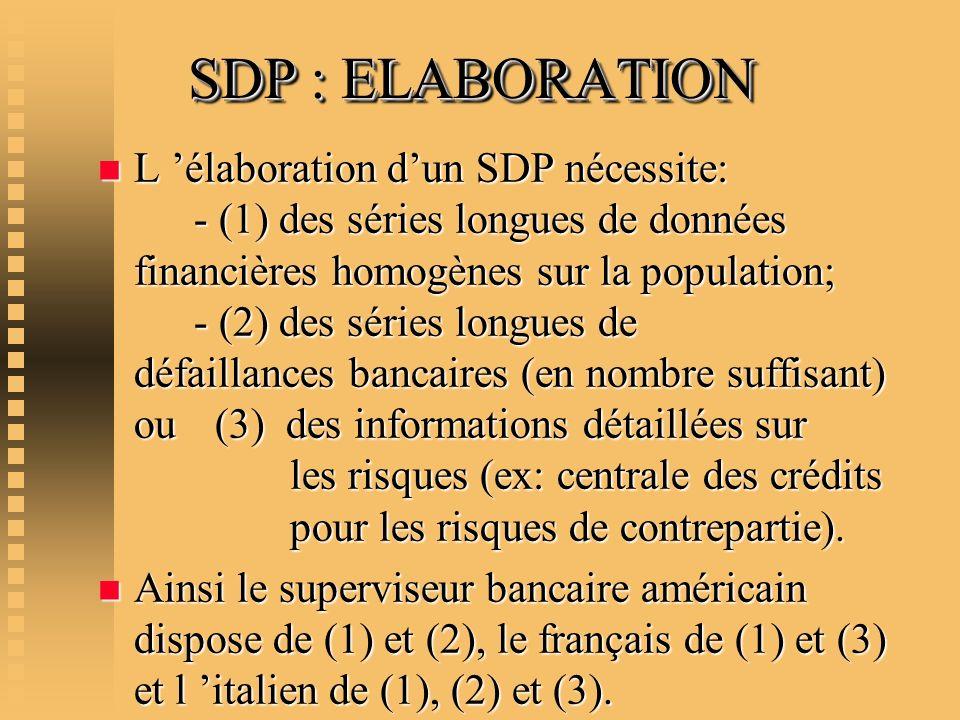 SDP : ELABORATION n L élaboration dun SDP nécessite: - (1) des séries longues de données financières homogènes sur la population; - (2) des séries lon
