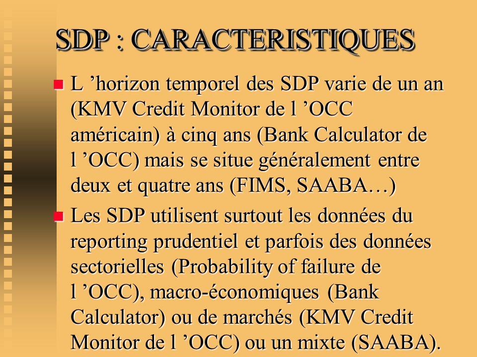 SDP : CARACTERISTIQUES n L horizon temporel des SDP varie de un an (KMV Credit Monitor de l OCC américain) à cinq ans (Bank Calculator de l OCC) mais