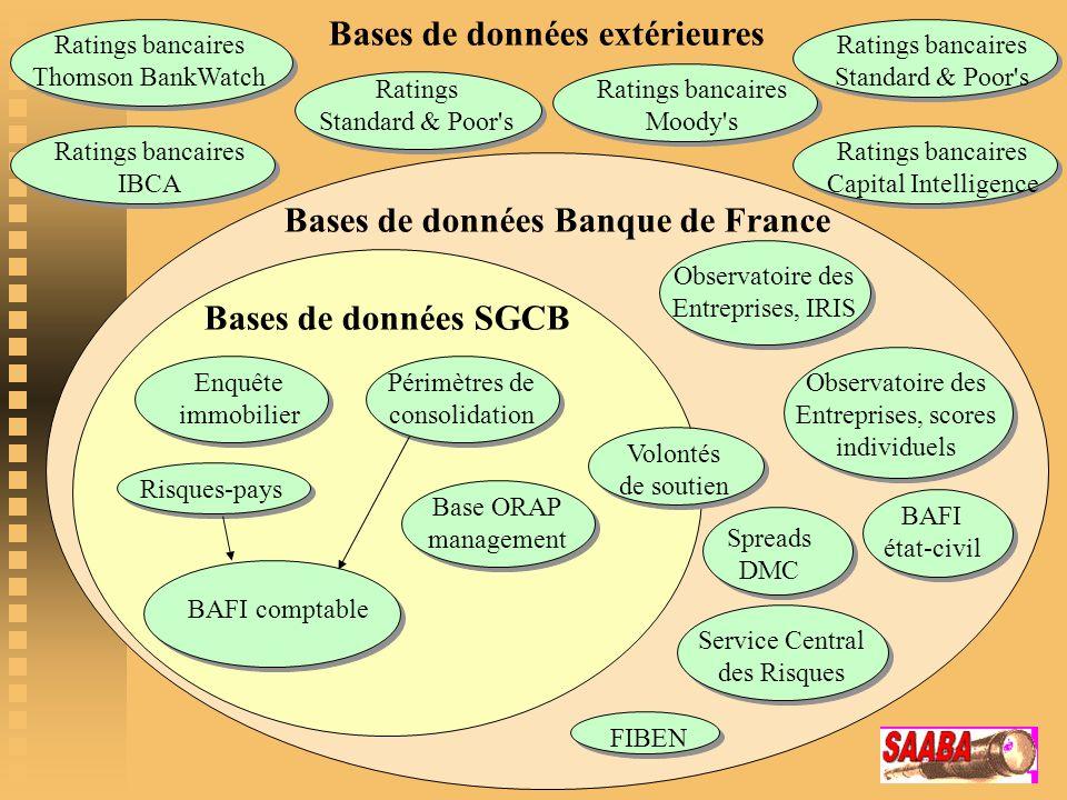 Bases de données Banque de France Bases de données SGCB BAFI comptable Enquête immobilier Risques-pays Périmètres de consolidation Base ORAP managemen