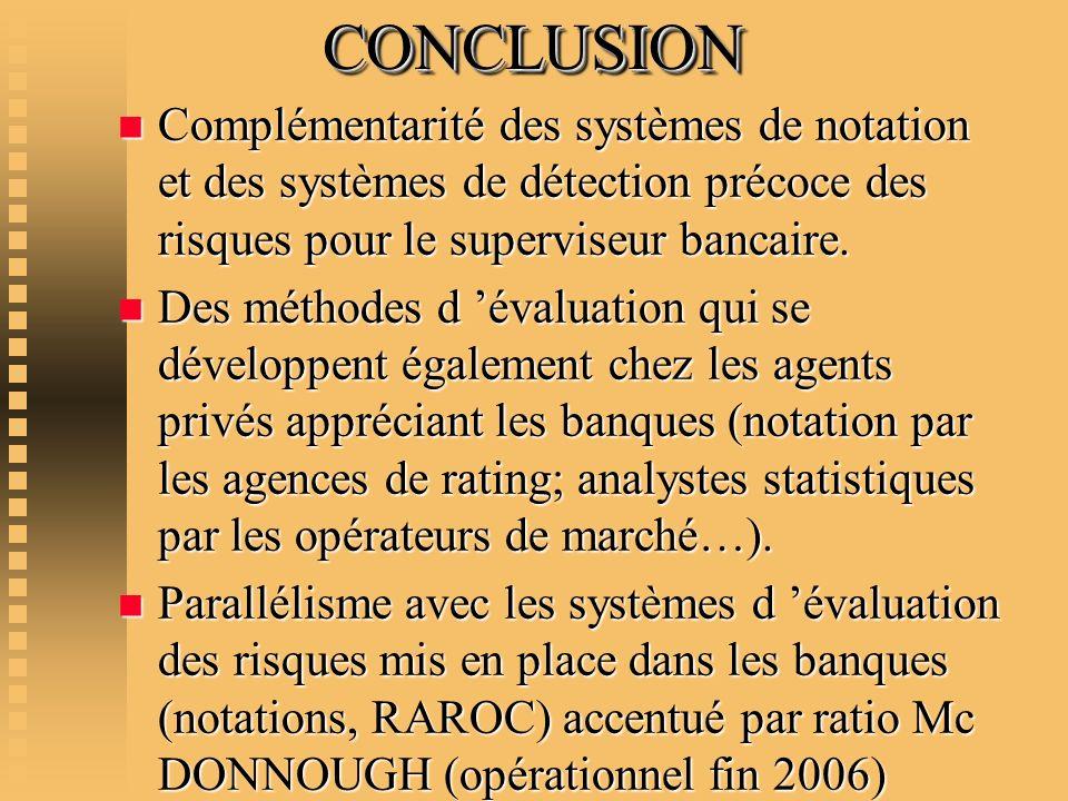 CONCLUSION CONCLUSION n Complémentarité des systèmes de notation et des systèmes de détection précoce des risques pour le superviseur bancaire. n Des