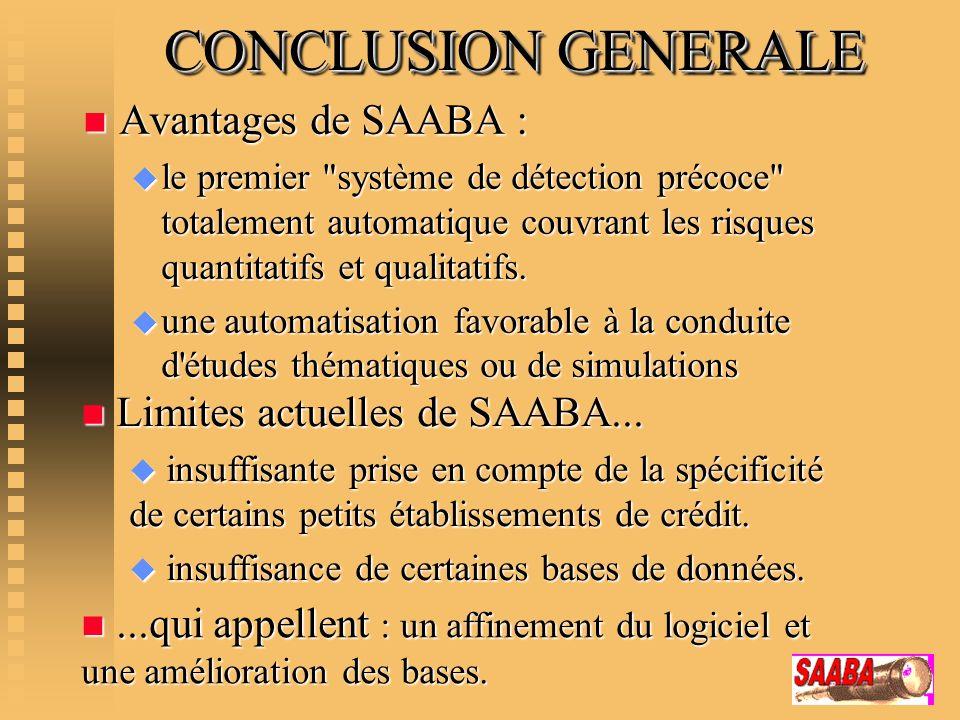 CONCLUSION GENERALE n Avantages de SAABA : u le premier