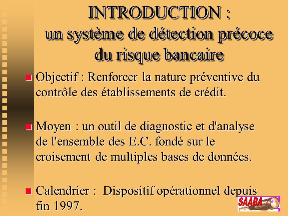 INTRODUCTION : un système de détection précoce du risque bancaire n Objectif : Renforcer la nature préventive du contrôle des établissements de crédit