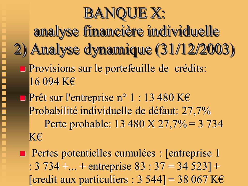 BANQUE X: analyse financière individuelle 2) Analyse dynamique (31/12/2003) n Provisions sur le portefeuille de crédits: 16 094 K n Prêt sur l'entrepr