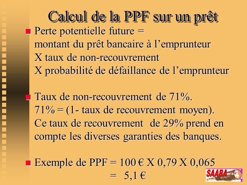 Calcul de la PPF sur un prêt Calcul de la PPF sur un prêt n Perte potentielle future = montant du prêt bancaire à lemprunteur X taux de non-recouvreme