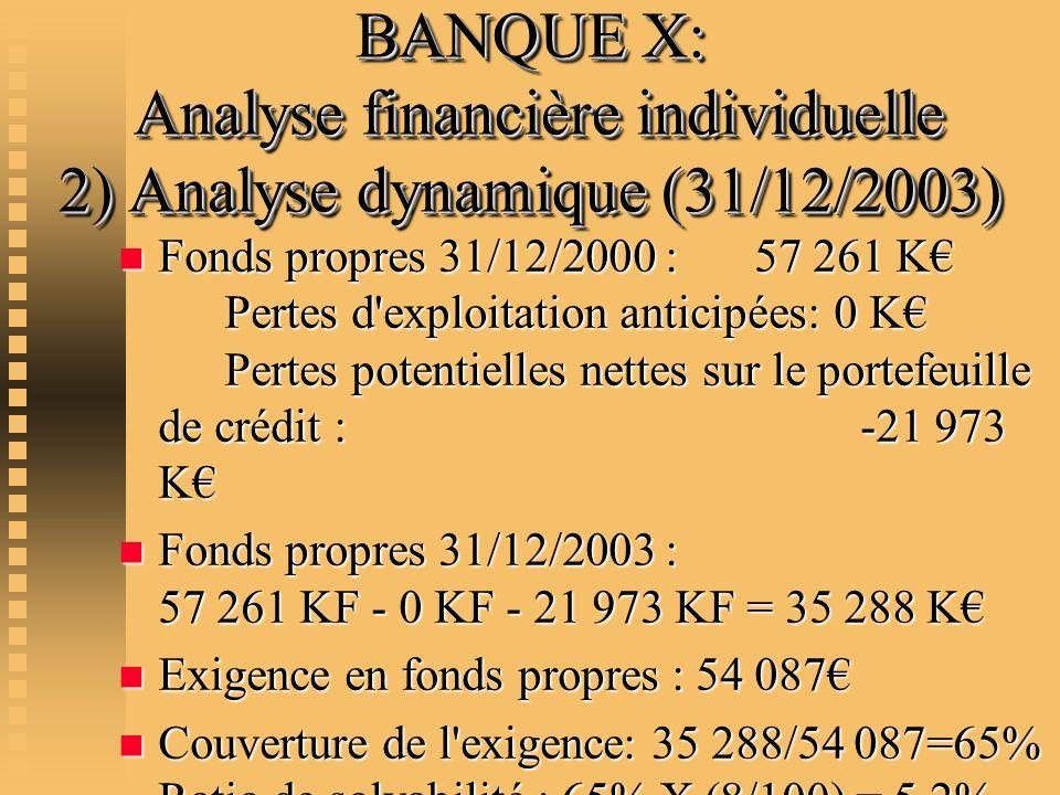 BANQUE X: Analyse financière individuelle 2) Analyse dynamique (31/12/2003) n Fonds propres 31/12/2000 : 57 261 K Pertes d'exploitation anticipées: 0