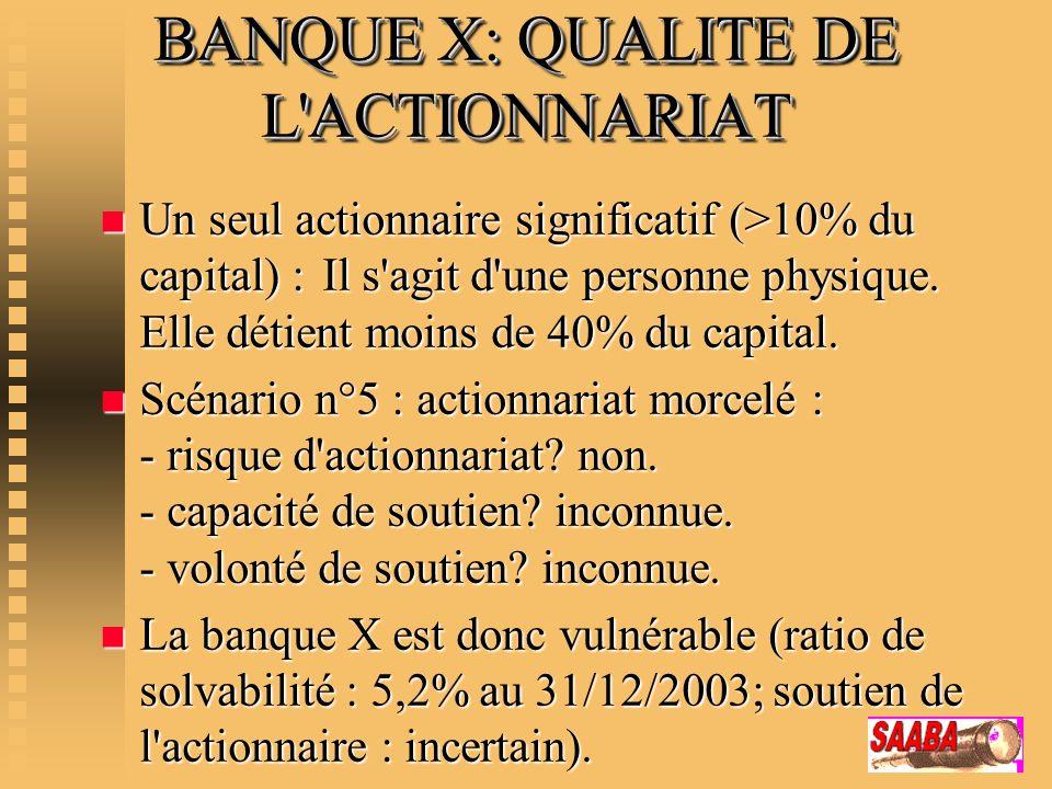 BANQUE X: QUALITE DE L'ACTIONNARIAT n Un seul actionnaire significatif (>10% du capital) : Il s'agit d'une personne physique. Elle détient moins de 40