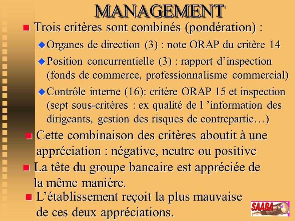 MANAGEMENTMANAGEMENT n Trois critères sont combinés (pondération) : u Organes de direction (3) : note ORAP du critère 14 u Position concurrentielle (3