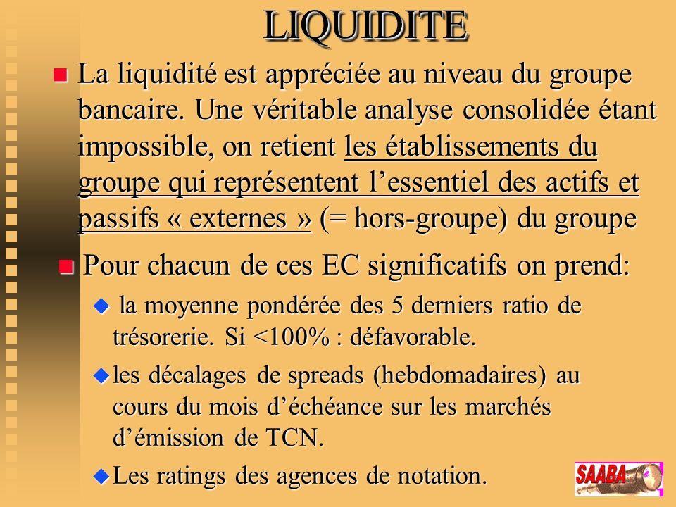 LIQUIDITELIQUIDITE n La liquidité est appréciée au niveau du groupe bancaire. Une véritable analyse consolidée étant impossible, on retient les établi