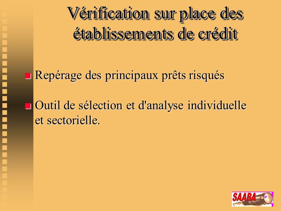 Vérification sur place des établissements de crédit n Repérage des principaux prêts risqués n Outil de sélection et d'analyse individuelle et sectorie