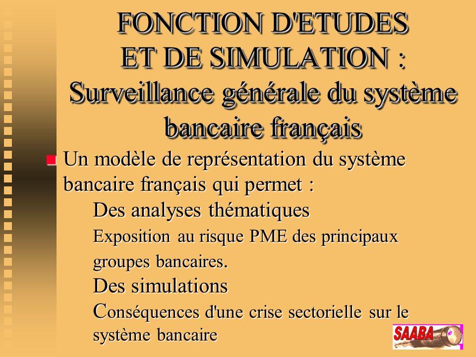 FONCTION D'ETUDES ET DE SIMULATION : Surveillance générale du système bancaire français n Un modèle de représentation du système bancaire français qui
