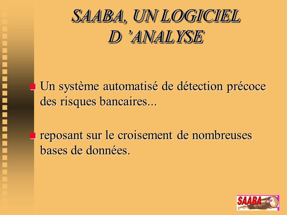 SAABA, UN LOGICIEL D ANALYSE n Un système automatisé de détection précoce des risques bancaires... n reposant sur le croisement de nombreuses bases de