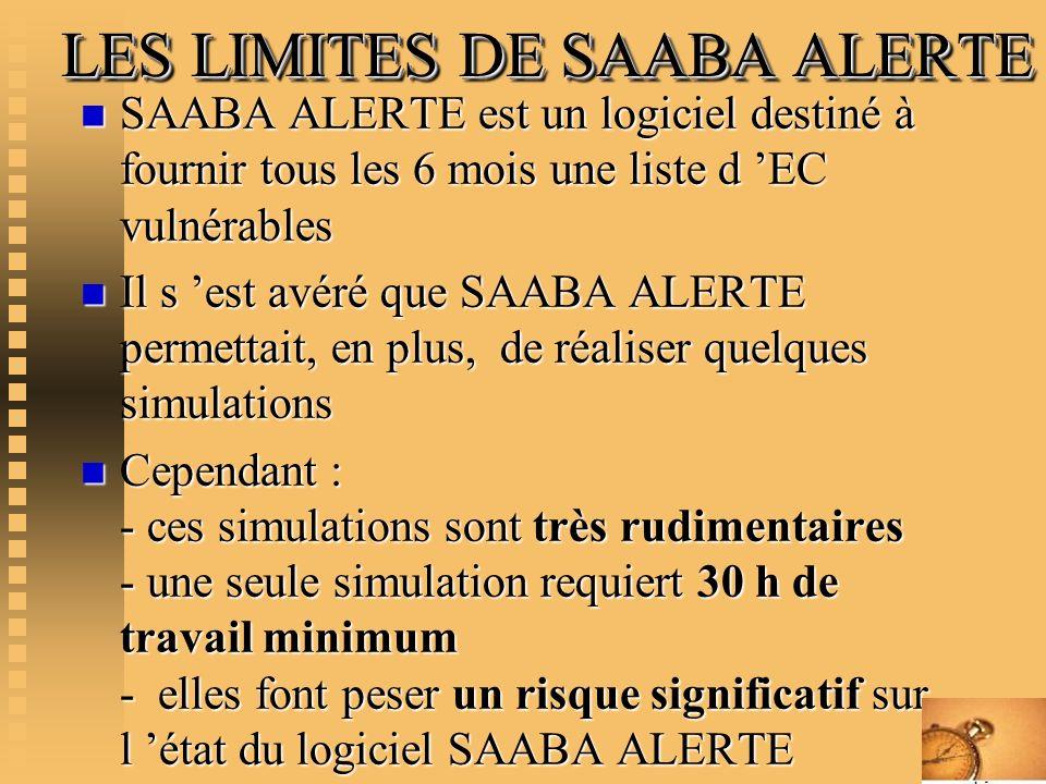 LES LIMITES DE SAABA ALERTE LES LIMITES DE SAABA ALERTE n SAABA ALERTE est un logiciel destiné à fournir tous les 6 mois une liste d EC vulnérables n