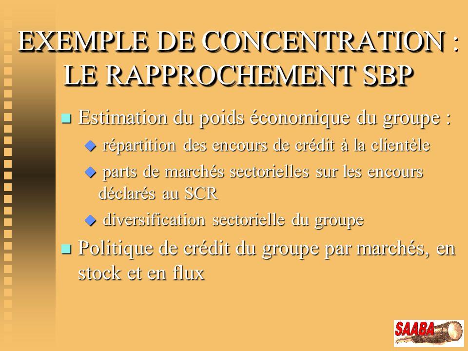 EXEMPLE DE CONCENTRATION LE RAPPROCHEMENT SBP EXEMPLE DE CONCENTRATION : LE RAPPROCHEMENT SBP n Estimation du poids économique du groupe : u répartiti