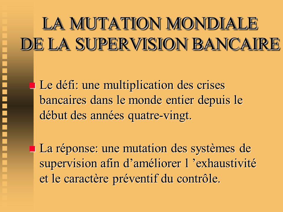 LA MUTATION MONDIALE DE LA SUPERVISION BANCAIRE n Le défi: une multiplication des crises bancaires dans le monde entier depuis le début des années qua