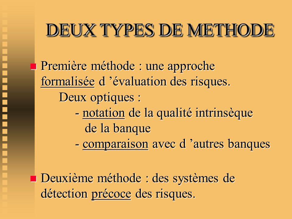DEUX TYPES DE METHODE DEUX TYPES DE METHODE n Première méthode : une approche formalisée d évaluation des risques. Deux optiques : - notation de la qu