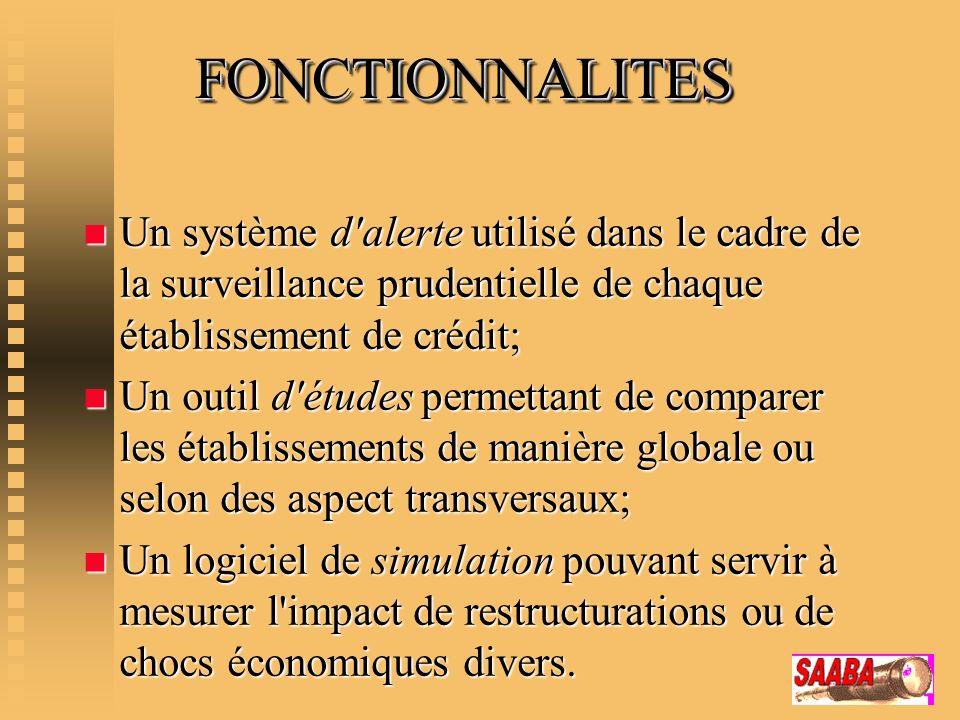 FONCTIONNALITES FONCTIONNALITES n Un système d'alerte utilisé dans le cadre de la surveillance prudentielle de chaque établissement de crédit; n Un ou