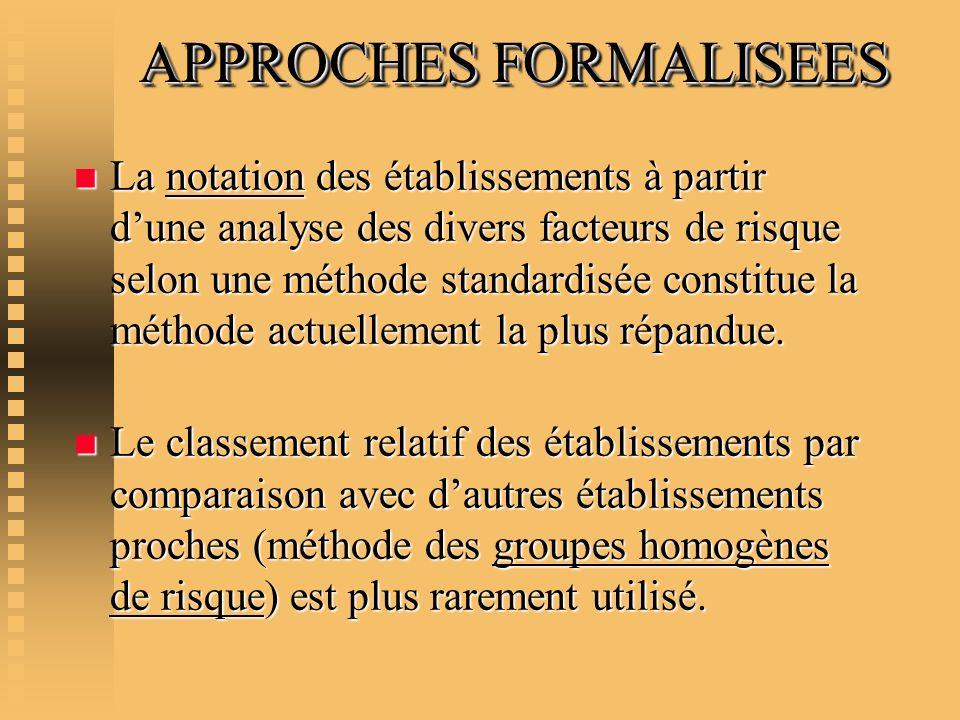 APPROCHES FORMALISEES APPROCHES FORMALISEES n La notation des établissements à partir dune analyse des divers facteurs de risque selon une méthode sta