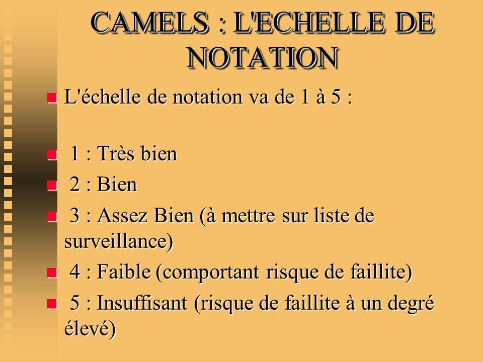 CAMELS : L'ECHELLE DE NOTATION n L'échelle de notation va de 1 à 5 : n 1 : Très bien n 2 : Bien n 3 : Assez Bien (à mettre sur liste de surveillance)