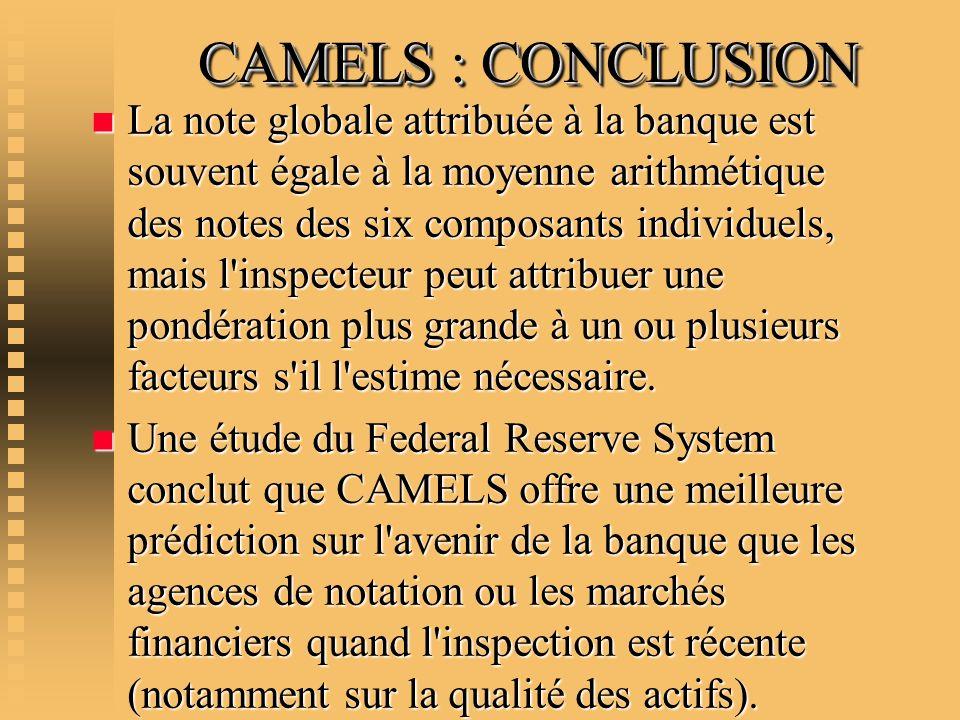 CAMELS : CONCLUSION CAMELS : CONCLUSION n La note globale attribuée à la banque est souvent égale à la moyenne arithmétique des notes des six composan