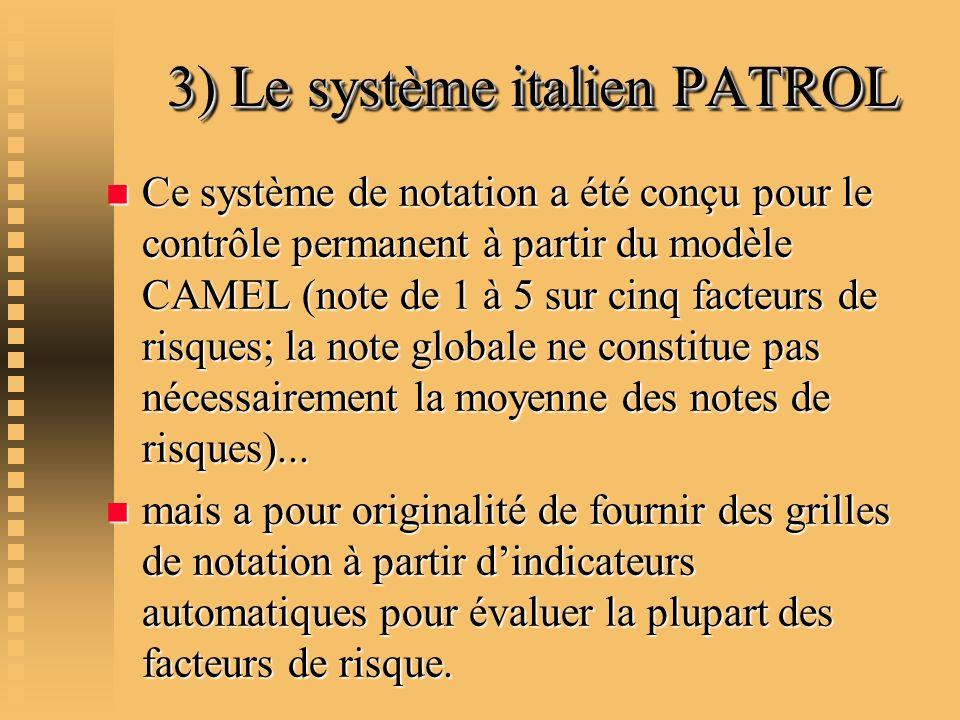 3) Le système italien PATROL 3) Le système italien PATROL n Ce système de notation a été conçu pour le contrôle permanent à partir du modèle CAMEL (no