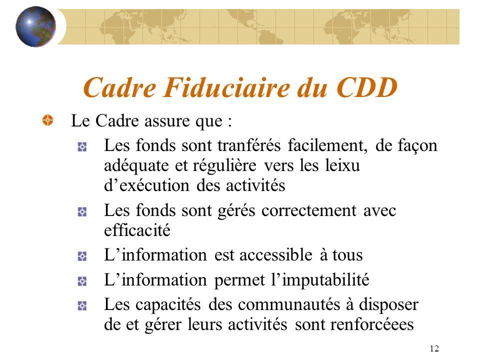 12 Cadre Fiduciaire du CDD Le Cadre assure que : Les fonds sont tranférés facilement, de façon adéquate et régulière vers les leixu dexécution des act