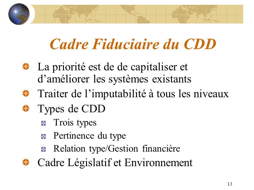 13 Cadre Fiduciaire du CDD La priorité est de de capitaliser et daméliorer les systèmes existants Traiter de limputabilité à tous les niveaux Types de