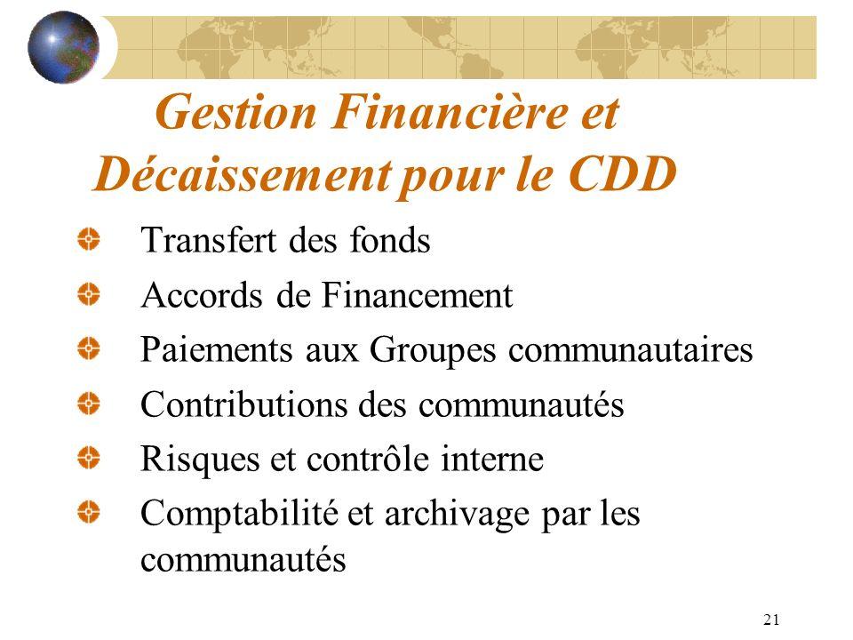 21 Gestion Financière et Décaissement pour le CDD Transfert des fonds Accords de Financement Paiements aux Groupes communautaires Contributions des co