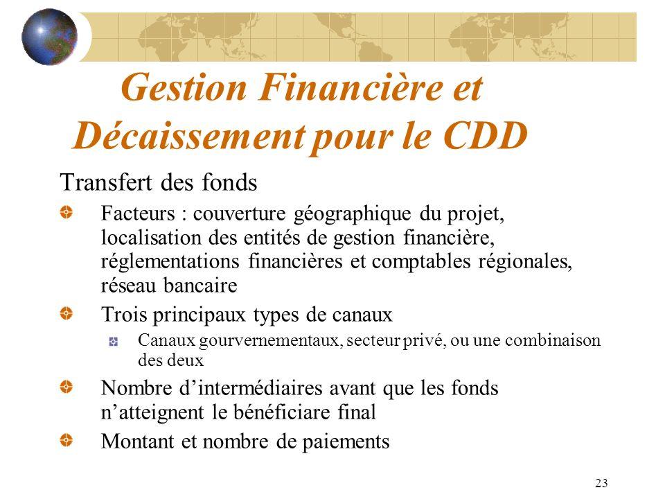 23 Gestion Financière et Décaissement pour le CDD Transfert des fonds Facteurs : couverture géographique du projet, localisation des entités de gestio