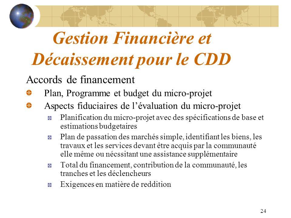 24 Gestion Financière et Décaissement pour le CDD Accords de financement Plan, Programme et budget du micro-projet Aspects fiduciaires de lévaluation