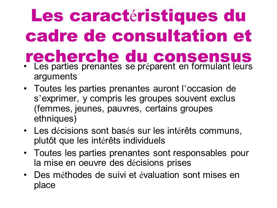 Les caract é ristiques du cadre de consultation et recherche du consensus Les parties prenantes se pr é parent en formulant leurs arguments Toutes les