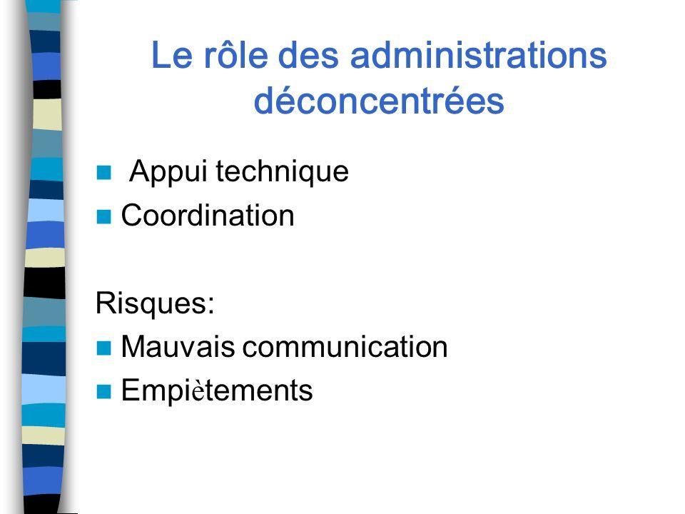 Le rôle des administrations déconcentrées Appui technique Coordination Risques: Mauvais communication Empi è tements