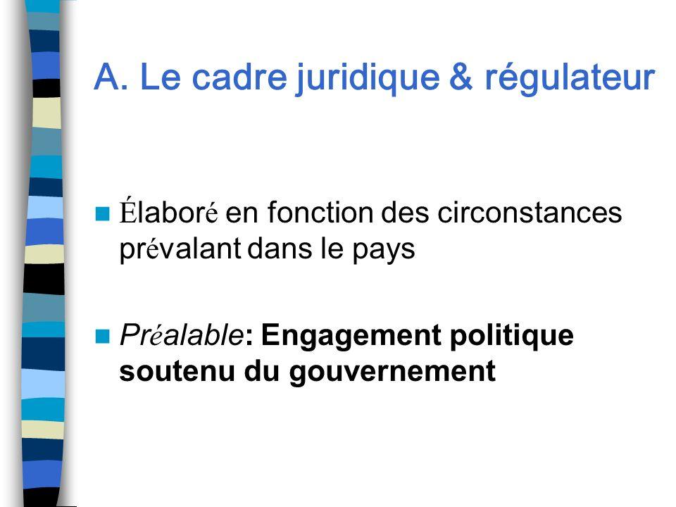 A. Le cadre juridique & régulateur É labor é en fonction des circonstances pr é valant dans le pays Pr é alable: Engagement politique soutenu du gouve
