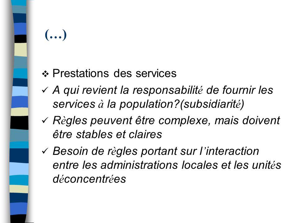 (…) Prestations des services A qui revient la responsabilit é de fournir les services à la population?(subsidiarit é ) R è gles peuvent être complexe,