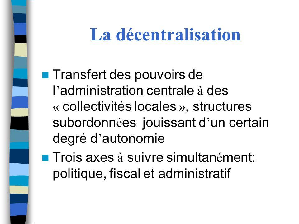 La décentralisation Transfert des pouvoirs de l administration centrale à des « collectivités locales », structures subordonn é es jouissant d un cert