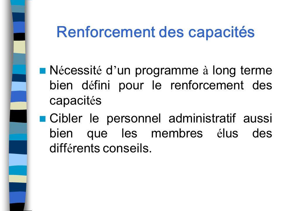 Renforcement des capacités N é cessit é d un programme à long terme bien d é fini pour le renforcement des capacit é s Cibler le personnel administrat