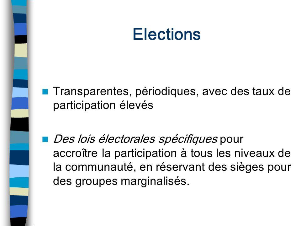 Elections Transparentes, périodiques, avec des taux de participation élevés Des lois électorales spécifiques pour accroître la participation à tous le