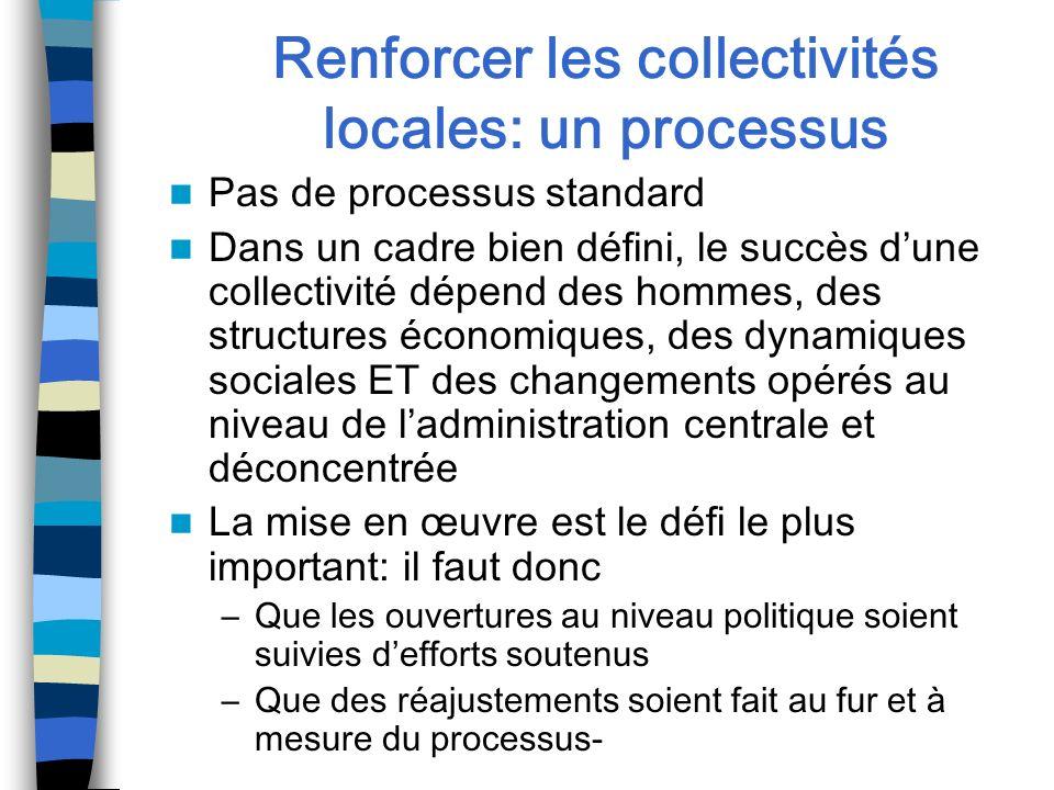 Renforcer les collectivités locales: un processus Pas de processus standard Dans un cadre bien défini, le succès dune collectivité dépend des hommes,