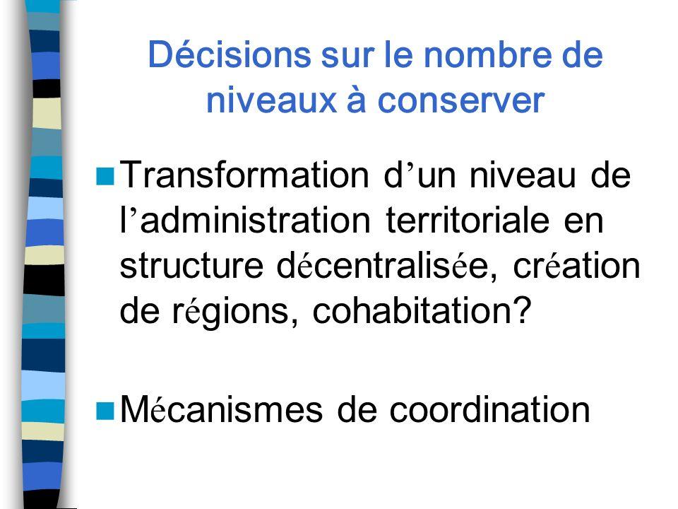 Décisions sur le nombre de niveaux à conserver Transformation d un niveau de l administration territoriale en structure d é centralis é e, cr é ation