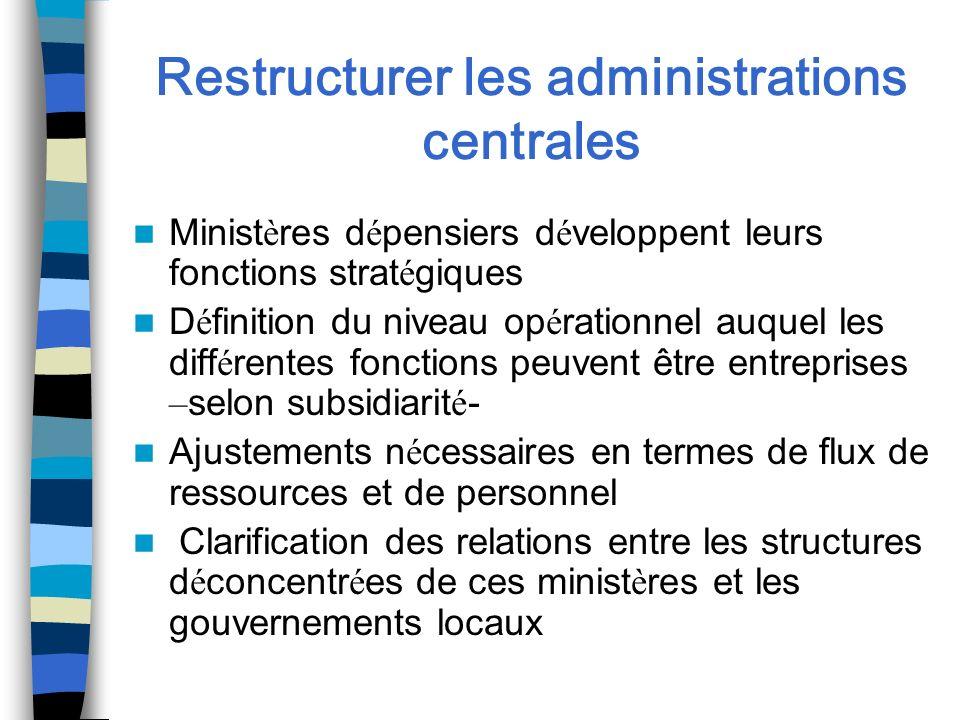Restructurer les administrations centrales Minist è res d é pensiers d é veloppent leurs fonctions strat é giques D é finition du niveau op é rationne